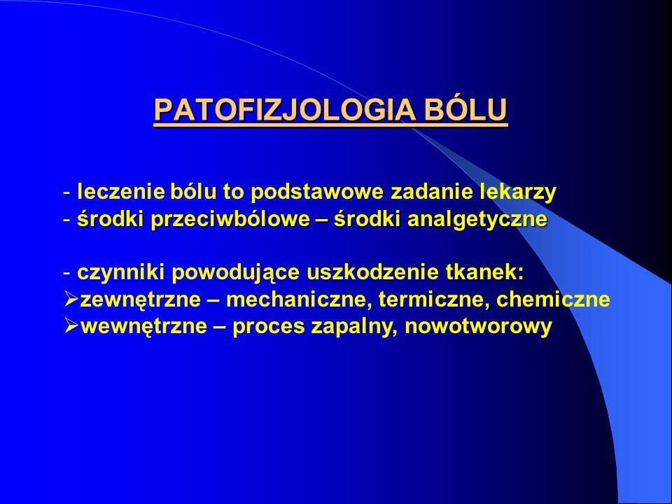 PATOFIZJOLOGIA BÓLU - leczenie bólu to podstawowe zadanie lekarzy środki przeciwbólowe – środki analgetyczne - środki przeciwbólowe – środki analgetyc