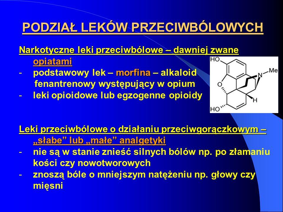 PODZIAŁ LEKÓW PRZECIWBÓLOWYCH Narkotyczne leki przeciwbólowe – dawniej zwane opiatami morfina -podstawowy lek – morfina – alkaloid fenantrenowy występ