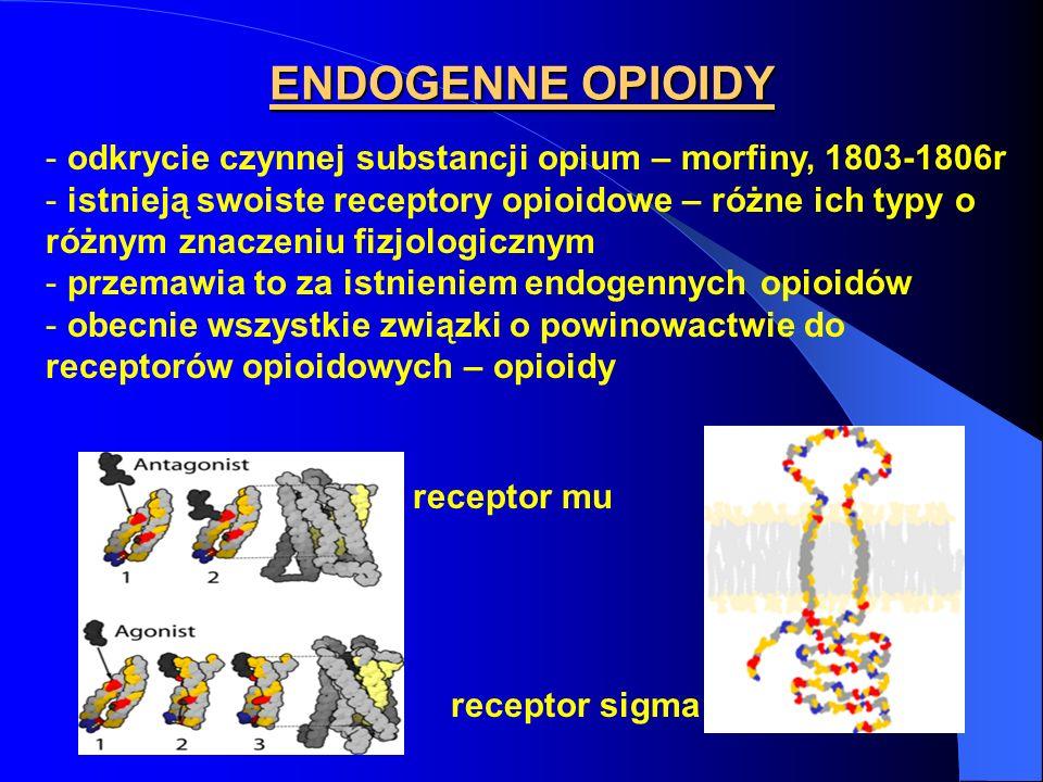 ENDOGENNE OPIOIDY - odkrycie czynnej substancji opium – morfiny, 1803-1806r - istnieją swoiste receptory opioidowe – różne ich typy o różnym znaczeniu