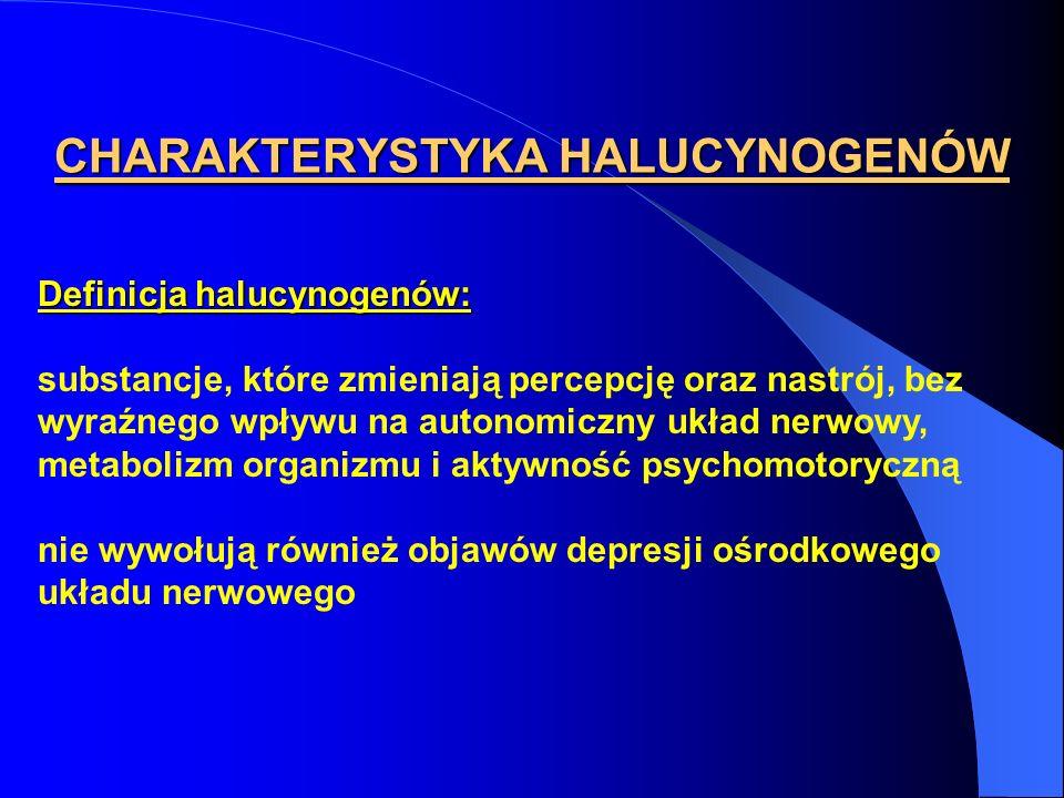CHARAKTERYSTYKA HALUCYNOGENÓW Definicja halucynogenów: substancje, które zmieniają percepcję oraz nastrój, bez wyraźnego wpływu na autonomiczny układ