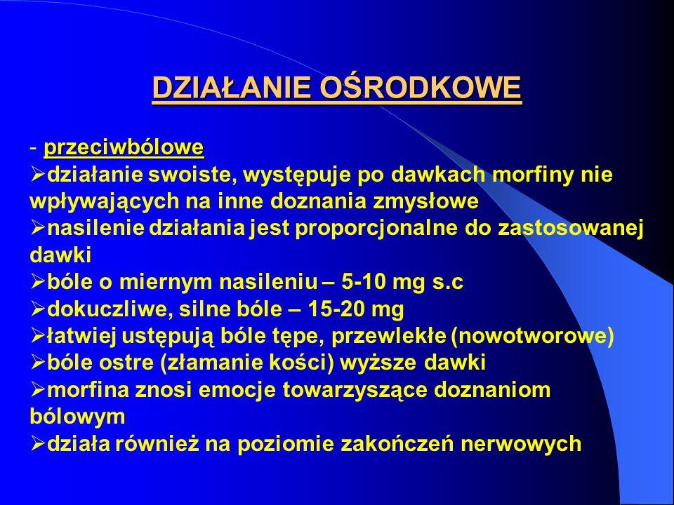 DZIAŁANIE OŚRODKOWE przeciwbólowe - przeciwbólowe działanie swoiste, występuje po dawkach morfiny nie wpływających na inne doznania zmysłowe nasilenie