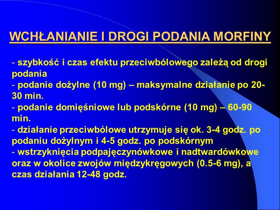 WCHŁANIANIE I DROGI PODANIA MORFINY - szybkość i czas efektu przeciwbólowego zależą od drogi podania - podanie dożylne (10 mg) – maksymalne działanie