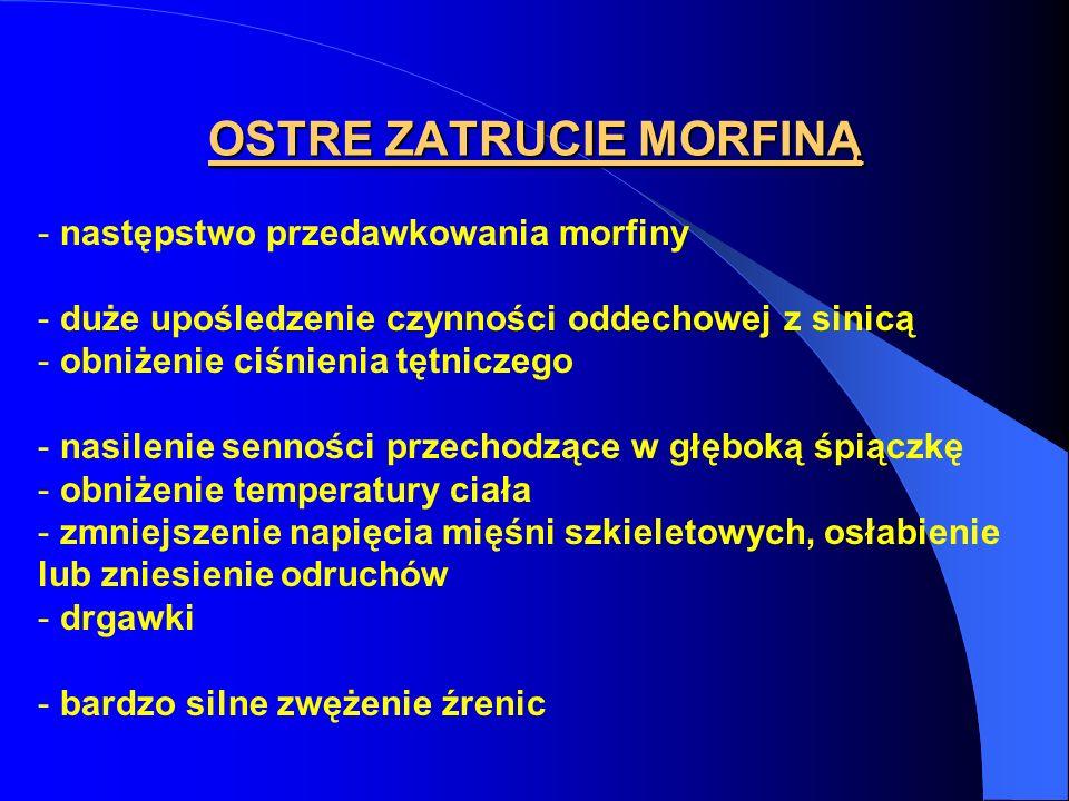 OSTRE ZATRUCIE MORFINĄ - następstwo przedawkowania morfiny - duże upośledzenie czynności oddechowej z sinicą - obniżenie ciśnienia tętniczego - nasile