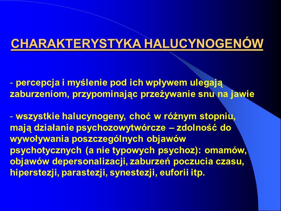 CHARAKTERYSTYKA HALUCYNOGENÓW - percepcja i myślenie pod ich wpływem ulegają zaburzeniom, przypominając przeżywanie snu na jawie - wszystkie halucynog