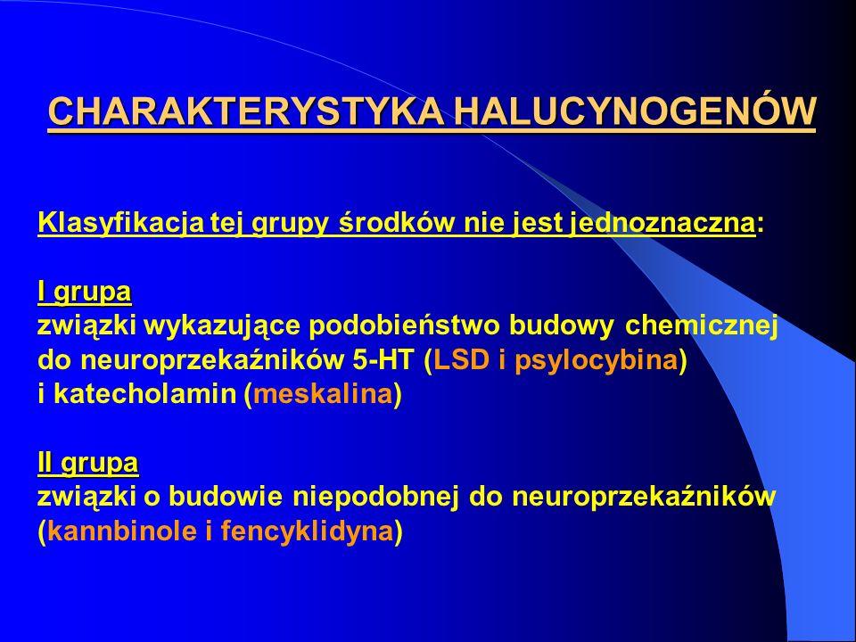 CHARAKTERYSTYKA HALUCYNOGENÓW Klasyfikacja tej grupy środków nie jest jednoznaczna: I grupa związki wykazujące podobieństwo budowy chemicznej do neuro
