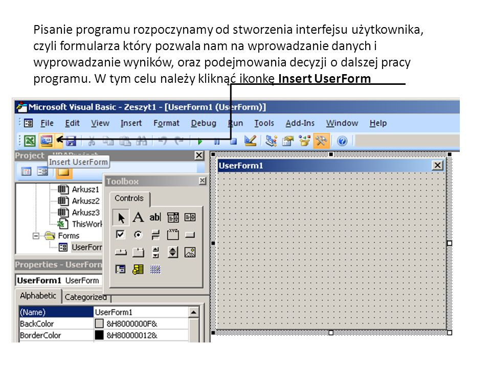 UserForm1 to na razie puste tło z naniesioną siatką punktów, która ma ułatwiać projektowanie formularza.
