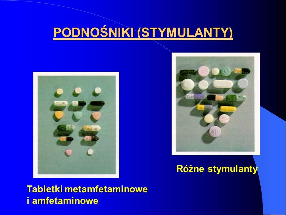 PODNOŚNIKI (STYMULANTY) Tabletki metamfetaminowe i amfetaminowe Różne stymulanty