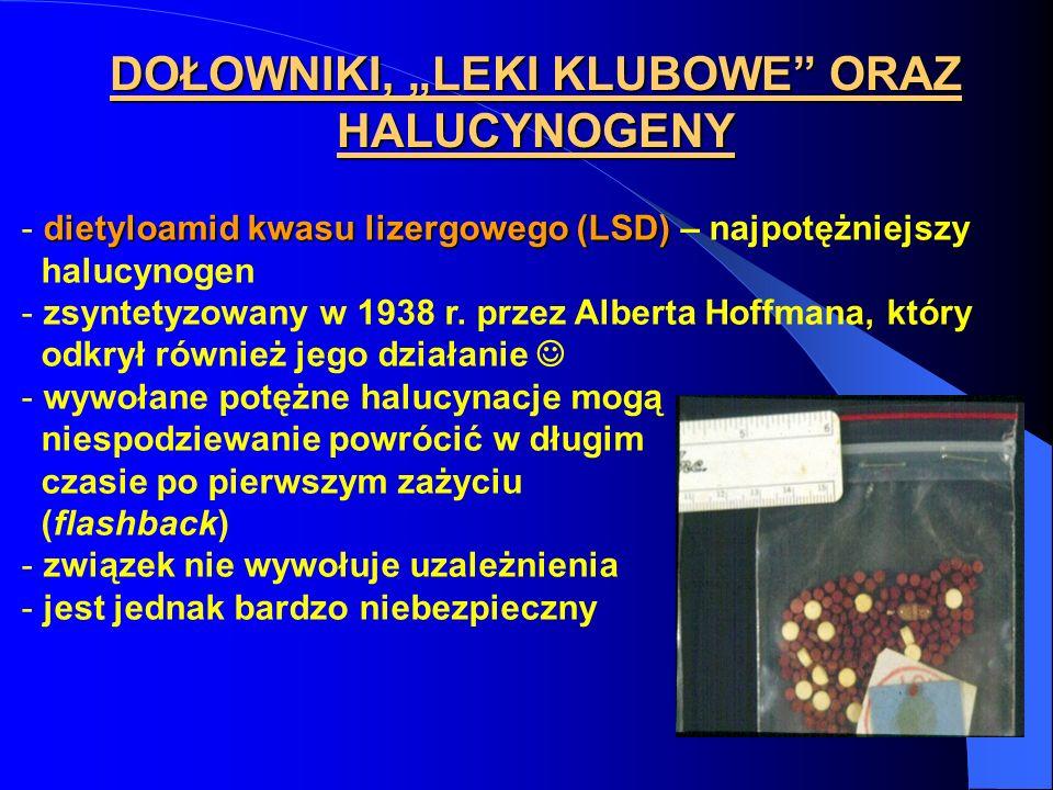 DOŁOWNIKI, LEKI KLUBOWE ORAZ HALUCYNOGENY dietyloamid kwasu lizergowego (LSD) - dietyloamid kwasu lizergowego (LSD) – najpotężniejszy halucynogen - zs