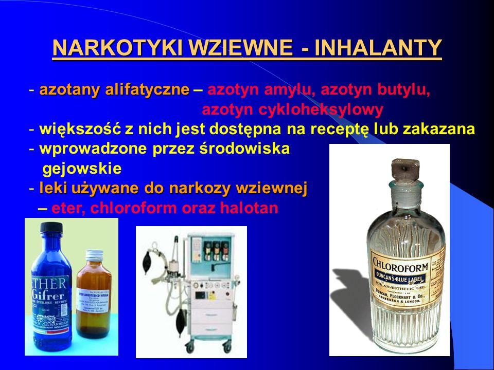 NARKOTYKI WZIEWNE - INHALANTY azotany alifatyczne - azotany alifatyczne – azotyn amylu, azotyn butylu, azotyn cykloheksylowy - większość z nich jest d