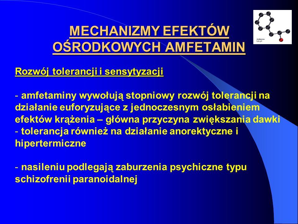 MECHANIZMY EFEKTÓW OŚRODKOWYCH AMFETAMIN Rozwój tolerancji i sensytyzacji - amfetaminy wywołują stopniowy rozwój tolerancji na działanie euforyzujące