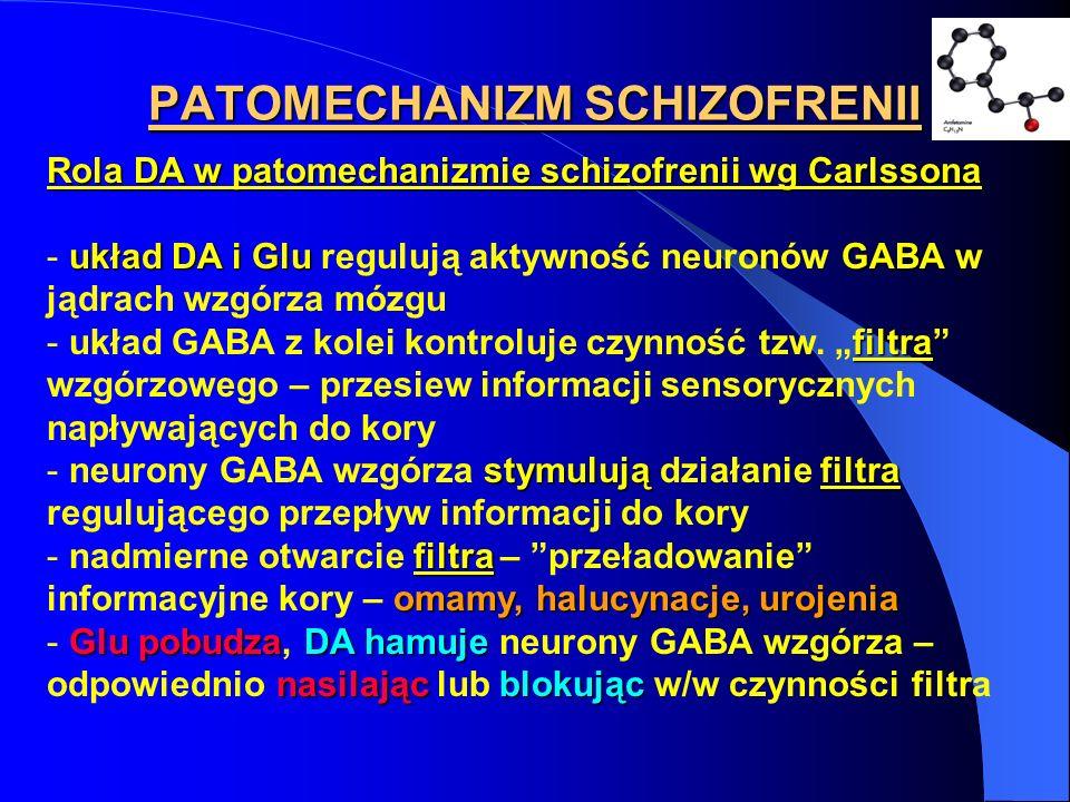 PATOMECHANIZM SCHIZOFRENII Rola DA w patomechanizmie schizofrenii wg Carlssona układ DA i GluGABA - układ DA i Glu regulują aktywność neuronów GABA w