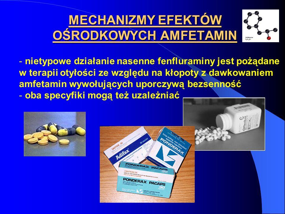MECHANIZMY EFEKTÓW OŚRODKOWYCH AMFETAMIN - nietypowe działanie nasenne fenfluraminy jest pożądane w terapii otyłości ze względu na kłopoty z dawkowani