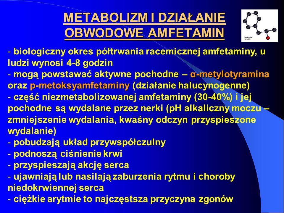 METABOLIZM I DZIAŁANIE OBWODOWE AMFETAMIN - biologiczny okres półtrwania racemicznej amfetaminy, u ludzi wynosi 4-8 godzin α-metylotyramina p-metoksya