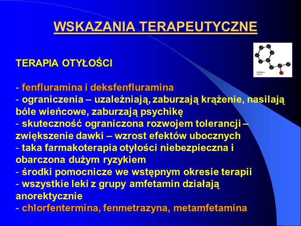 WSKAZANIA TERAPEUTYCZNE TERAPIA OTYŁOŚCI fenfluramina i deksfenfluramina - fenfluramina i deksfenfluramina - ograniczenia – uzależniają, zaburzają krą
