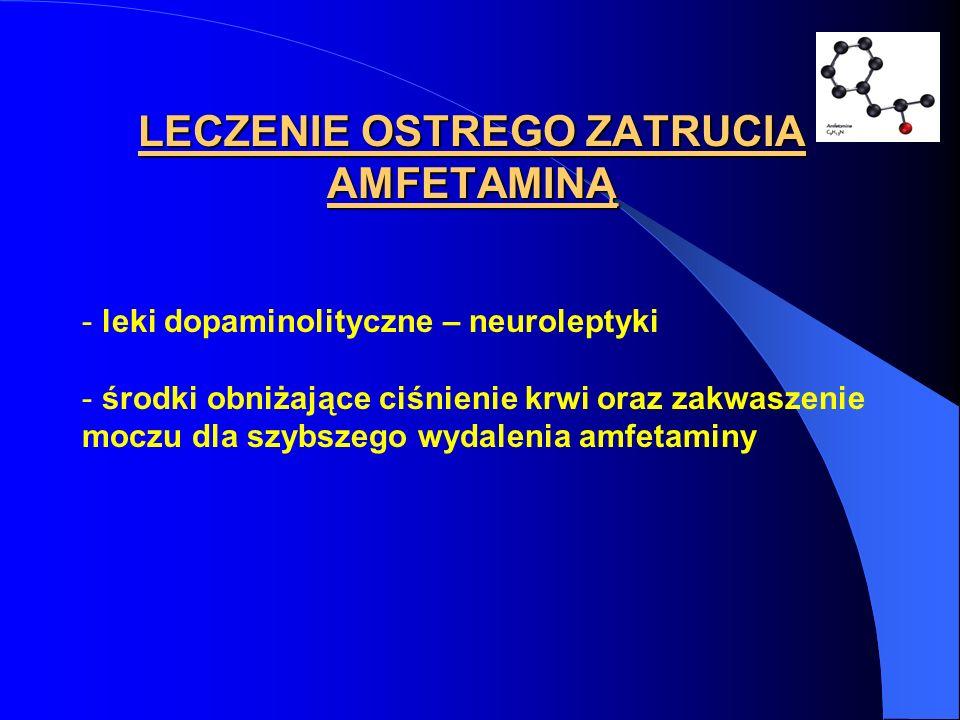 LECZENIE OSTREGO ZATRUCIA AMFETAMINĄ - leki dopaminolityczne – neuroleptyki - środki obniżające ciśnienie krwi oraz zakwaszenie moczu dla szybszego wy