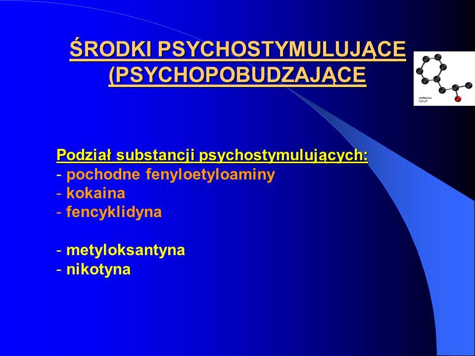 ŚRODKI PSYCHOSTYMULUJĄCE (PSYCHOPOBUDZAJĄCE Podział substancji psychostymulujących: - pochodne fenyloetyloaminy - kokaina - fencyklidyna - metyloksant