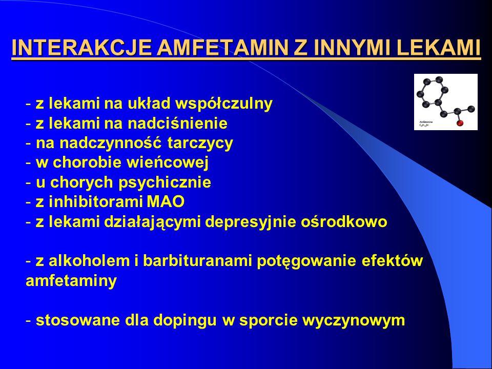 INTERAKCJE AMFETAMIN Z INNYMI LEKAMI - z lekami na układ współczulny - z lekami na nadciśnienie - na nadczynność tarczycy - w chorobie wieńcowej - u c