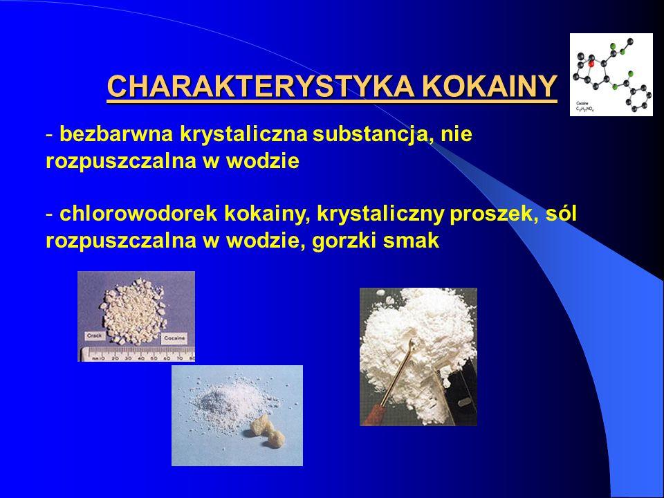 CHARAKTERYSTYKA KOKAINY - bezbarwna krystaliczna substancja, nie rozpuszczalna w wodzie - chlorowodorek kokainy, krystaliczny proszek, sól rozpuszczal