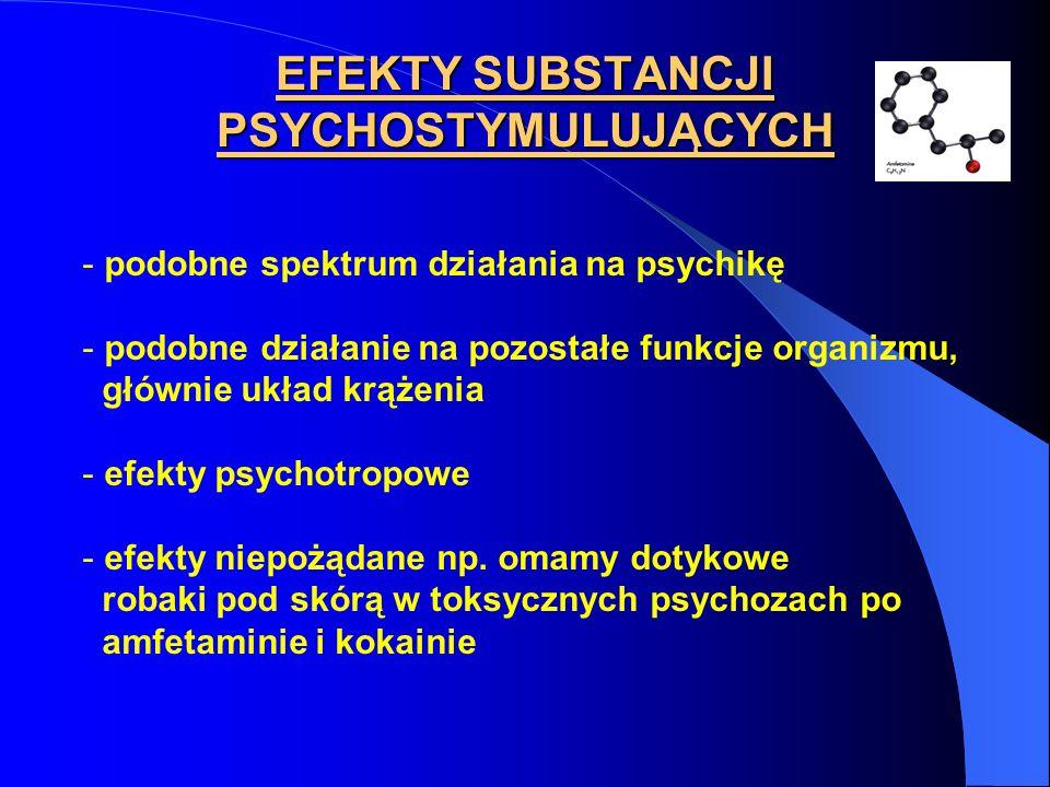 EFEKTY SUBSTANCJI PSYCHOSTYMULUJĄCYCH - podobne spektrum działania na psychikę - podobne działanie na pozostałe funkcje organizmu, głównie układ krąże
