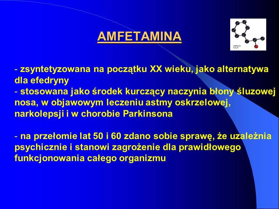 INTERAKCJE AMFETAMIN Z INNYMI LEKAMI - z lekami na układ współczulny - z lekami na nadciśnienie - na nadczynność tarczycy - w chorobie wieńcowej - u chorych psychicznie - z inhibitorami MAO - z lekami działającymi depresyjnie ośrodkowo - z alkoholem i barbituranami potęgowanie efektów amfetaminy - stosowane dla dopingu w sporcie wyczynowym
