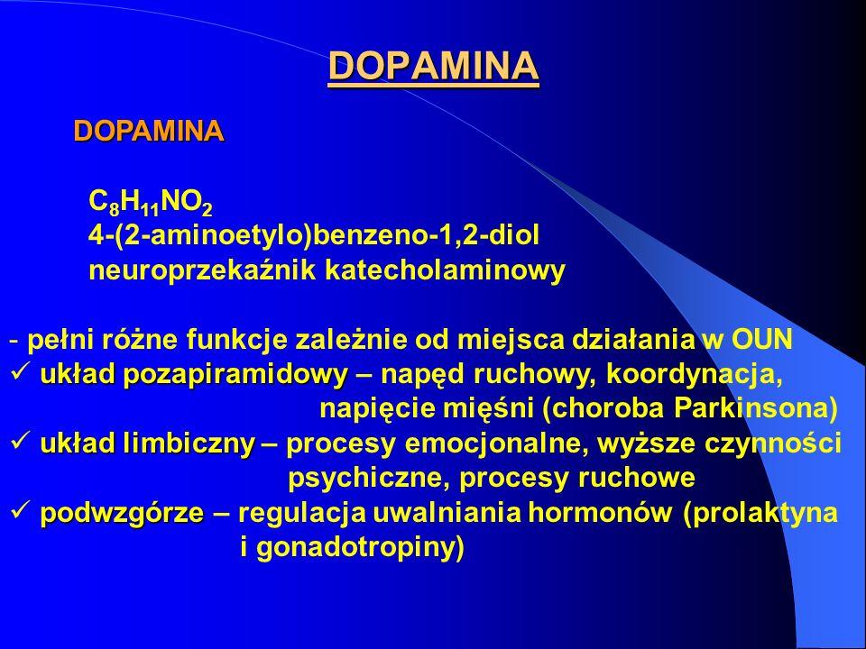 DOPAMINA DOPAMINA DOPAMINA C 8 H 11 NO 2 4-(2-aminoetylo)benzeno-1,2-diol neuroprzekaźnik katecholaminowy - pełni różne funkcje zależnie od miejsca działania w OUN układ pozapiramidowy układ pozapiramidowy – napęd ruchowy, koordynacja, napięcie mięśni (choroba Parkinsona) układ limbiczny układ limbiczny – procesy emocjonalne, wyższe czynności psychiczne, procesy ruchowe podwzgórze podwzgórze – regulacja uwalniania hormonów (prolaktyna i gonadotropiny)