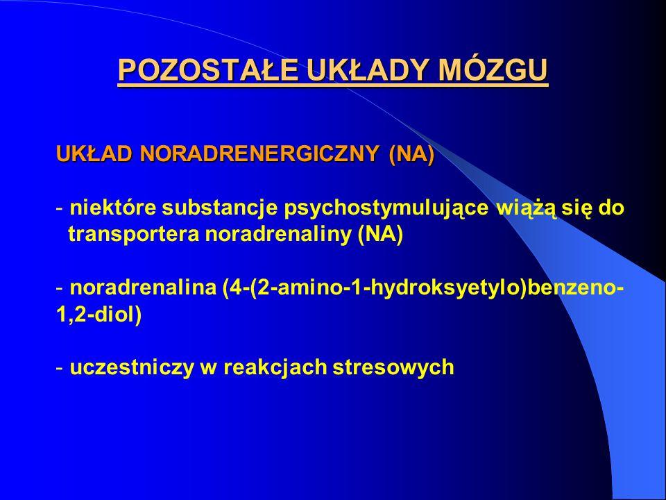 UKŁAD NORADRENERGICZNY (NA) - niektóre substancje psychostymulujące wiążą się do transportera noradrenaliny (NA) - noradrenalina (4-(2-amino-1-hydroksyetylo)benzeno- 1,2-diol) - uczestniczy w reakcjach stresowych