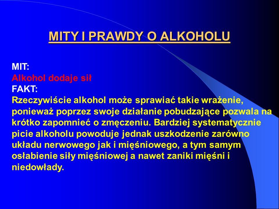 MITY I PRAWDY O ALKOHOLU MIT: Alkohol dodaje sił FAKT: Rzeczywiście alkohol może sprawiać takie wrażenie, ponieważ poprzez swoje działanie pobudzające
