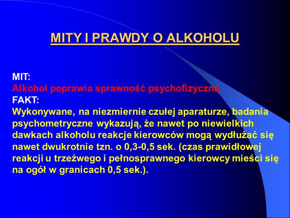 MITY I PRAWDY O ALKOHOLU MIT: Alkohol poprawia sprawność psychofizyczną FAKT: Wykonywane, na niezmiernie czułej aparaturze, badania psychometryczne wy