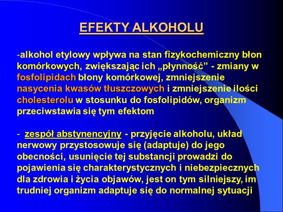 EFEKTY ALKOHOLU fizykochemiczny błon komórkowych fosfolipidach nasycenia kwasów tłuszczowych cholesterolu -alkohol etylowy wpływa na stan fizykochemic