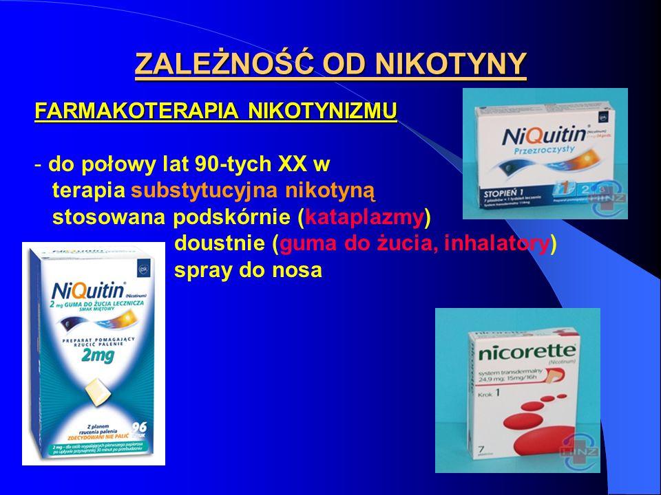 ZALEŻNOŚĆ OD NIKOTYNY FARMAKOTERAPIA NIKOTYNIZMU - do połowy lat 90-tych XX w terapia substytucyjna nikotyną stosowana podskórnie (kataplazmy) doustni