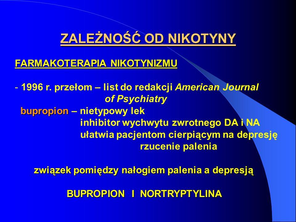 FARMAKOTERAPIA NIKOTYNIZMU - 1996 r. przełom – list do redakcji American Journal of Psychiatry bupropion bupropion – nietypowy lek inhibitor wychwytu