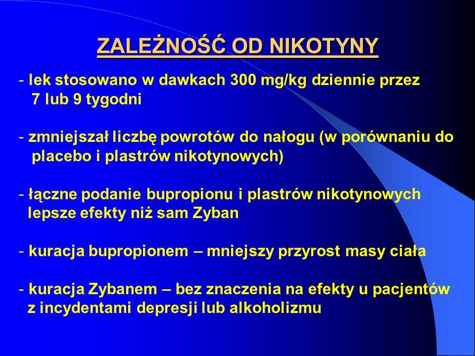 - lek stosowano w dawkach 300 mg/kg dziennie przez 7 lub 9 tygodni - zmniejszał liczbę powrotów do nałogu (w porównaniu do placebo i plastrów nikotyno