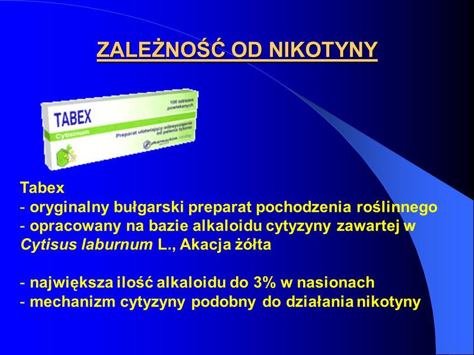 ZALEŻNOŚĆ OD NIKOTYNY Tabex - oryginalny bułgarski preparat pochodzenia roślinnego - opracowany na bazie alkaloidu cytyzyny zawartej w Cytisus laburnu