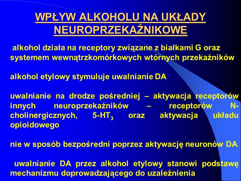 WPŁYW ALKOHOLU NA UKŁADY NEUROPRZEKAŹNIKOWE alkohol działa na receptory związane z białkami G oraz systemem wewnątrzkomórkowych wtórnych przekaźników
