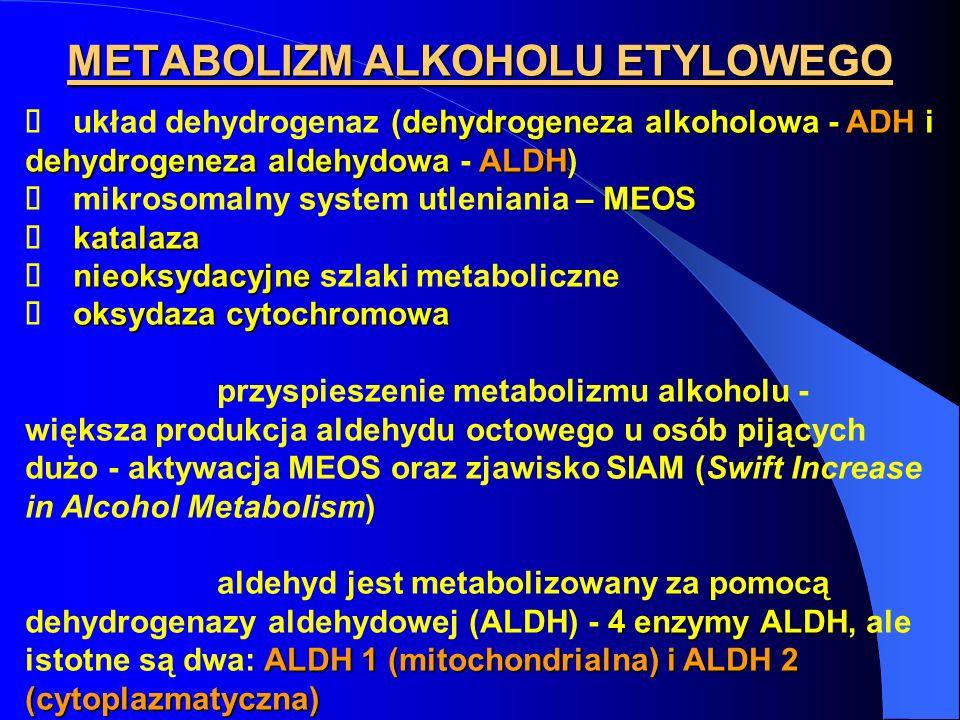 METABOLIZM ALKOHOLU ETYLOWEGO dehydrogeneza alkoholowaADH dehydrogeneza aldehydowa ALDH układ dehydrogenaz (dehydrogeneza alkoholowa - ADH i dehydroge