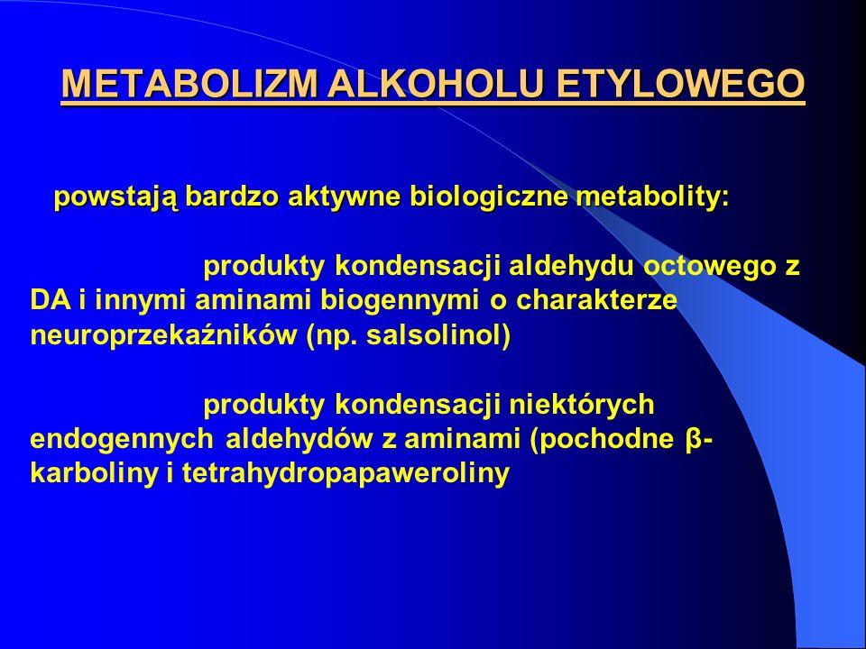 METABOLIZM ALKOHOLU ETYLOWEGO powstają bardzo aktywne biologiczne metabolity: powstają bardzo aktywne biologiczne metabolity: produkty kondensacji ald