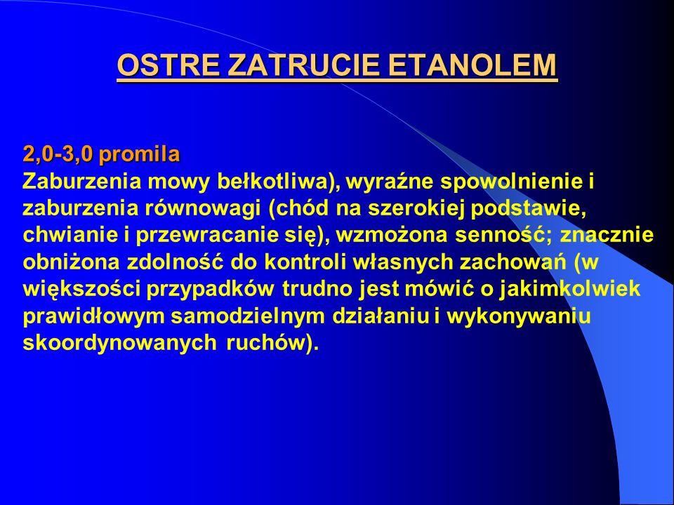 OSTRE ZATRUCIE ETANOLEM 2,0-3,0 promila Zaburzenia mowy bełkotliwa), wyraźne spowolnienie i zaburzenia równowagi (chód na szerokiej podstawie, chwiani