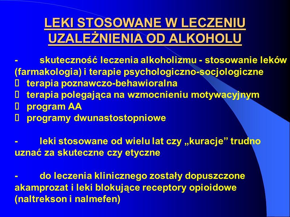 LEKI STOSOWANE W LECZENIU UZALEŻNIENIA OD ALKOHOLU - skuteczność leczenia alkoholizmu - stosowanie leków (farmakologia) i terapie psychologiczno-socjo