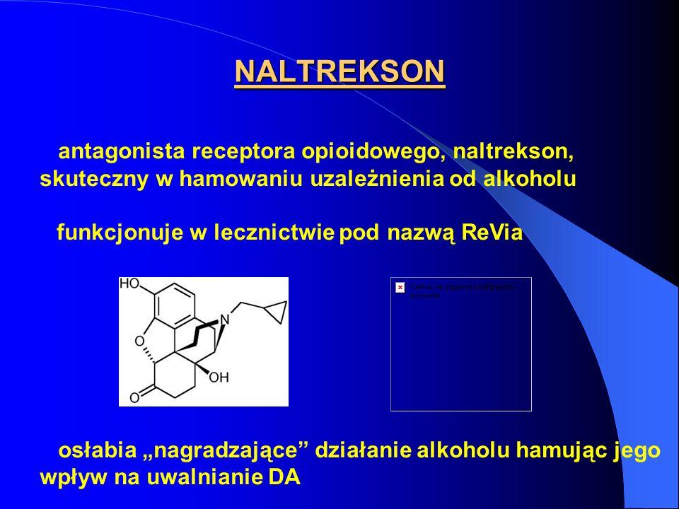 NALTREKSON antagonista receptora opioidowego, naltrekson, skuteczny w hamowaniu uzależnienia od alkoholu funkcjonuje w lecznictwie pod nazwą ReVia osł
