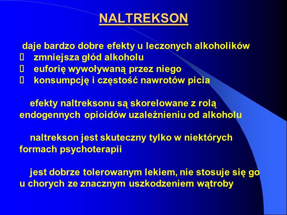 NALTREKSON daje bardzo dobre efekty u leczonych alkoholików zmniejsza głód alkoholu euforię wywoływaną przez niego konsumpcję i częstość nawrotów pici