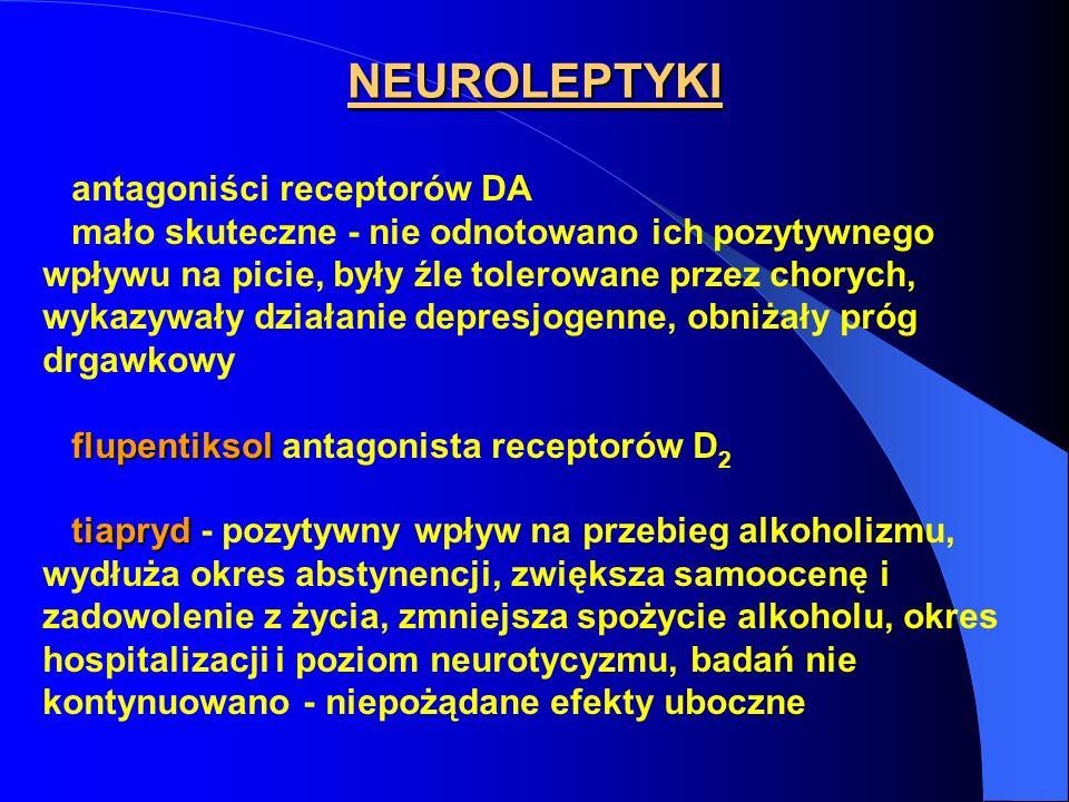 NEUROLEPTYKI antagoniści receptorów DA mało skuteczne - nie odnotowano ich pozytywnego wpływu na picie, były źle tolerowane przez chorych, wykazywały