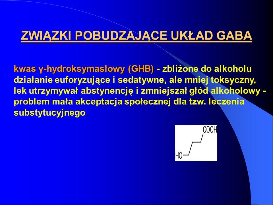 ZWIĄZKI POBUDZAJĄCE UKŁAD GABA kwas γ-hydroksymasłowy (GHB) kwas γ-hydroksymasłowy (GHB) - zbliżone do alkoholu działanie euforyzujące i sedatywne, al