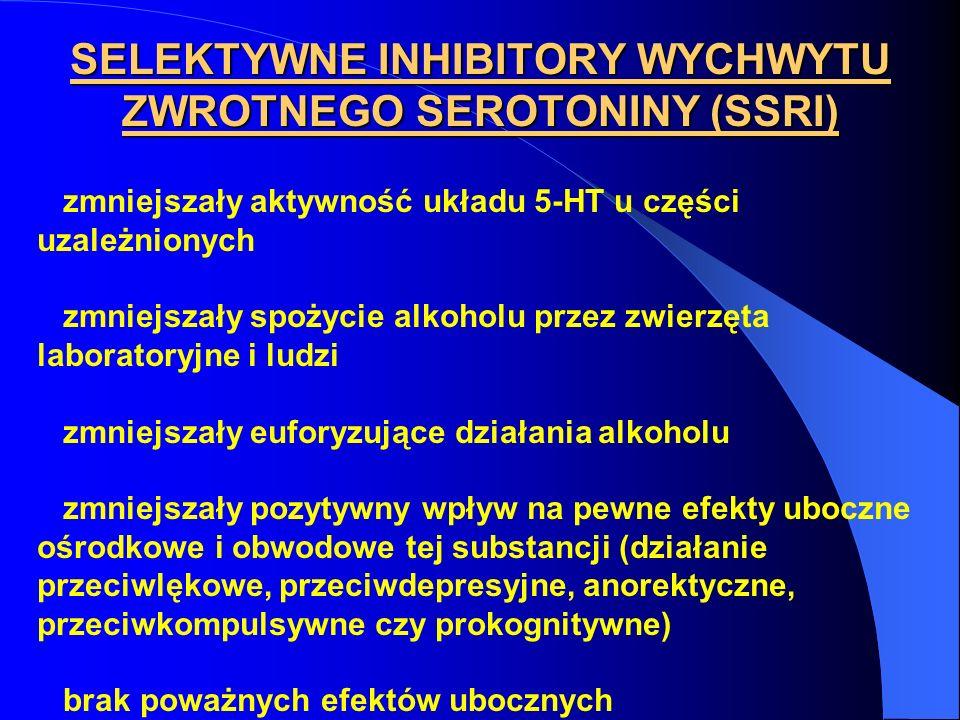 SELEKTYWNE INHIBITORY WYCHWYTU ZWROTNEGO SEROTONINY (SSRI) zmniejszały aktywność układu 5-HT u części uzależnionych zmniejszały spożycie alkoholu prze