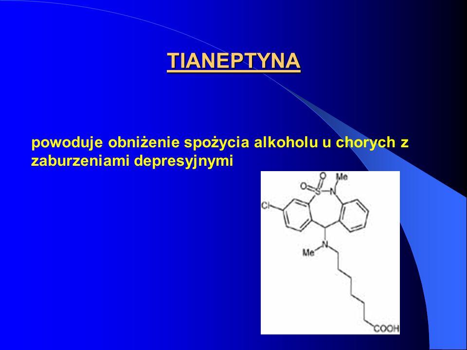 TIANEPTYNA powoduje obniżenie spożycia alkoholu u chorych z zaburzeniami depresyjnymi