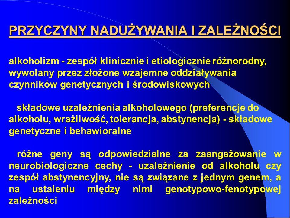 alkoholizm - zespół klinicznie i etiologicznie różnorodny, wywołany przez złożone wzajemne oddziaływania czynników genetycznych i środowiskowych skład