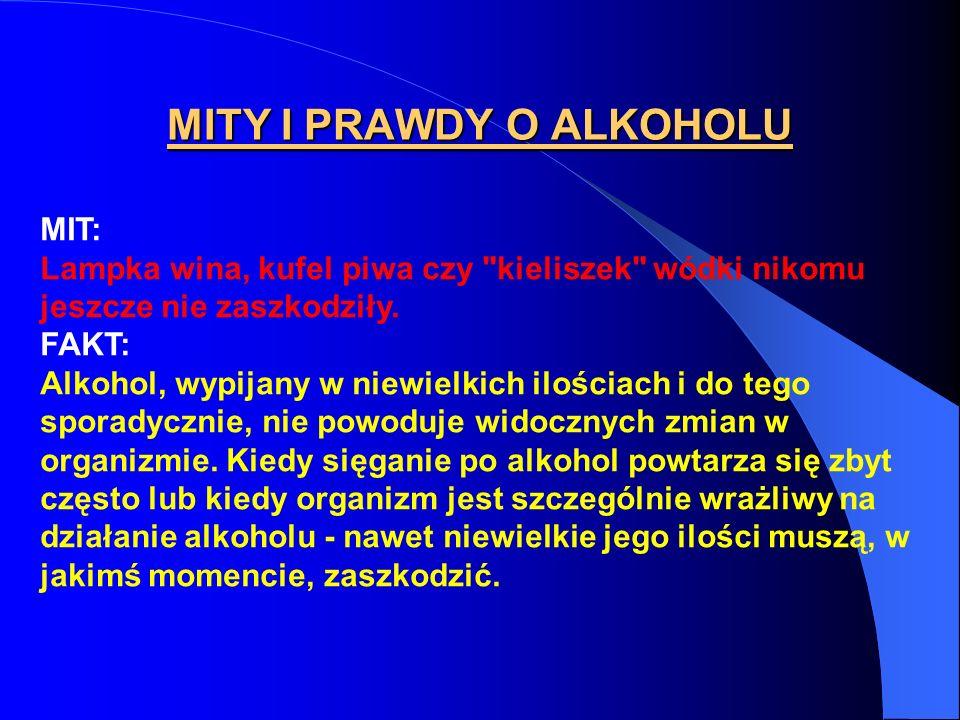 MITY I PRAWDY O ALKOHOLU MIT: Lampka wina, kufel piwa czy