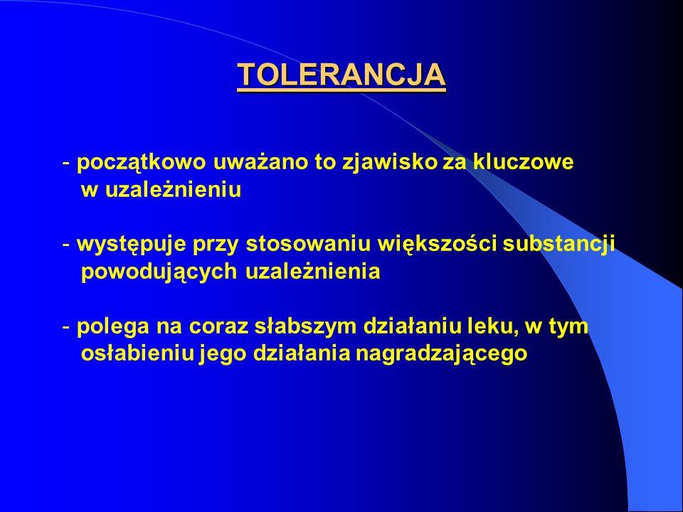 TOLERANCJA - początkowo uważano to zjawisko za kluczowe w uzależnieniu - występuje przy stosowaniu większości substancji powodujących uzależnienia - p