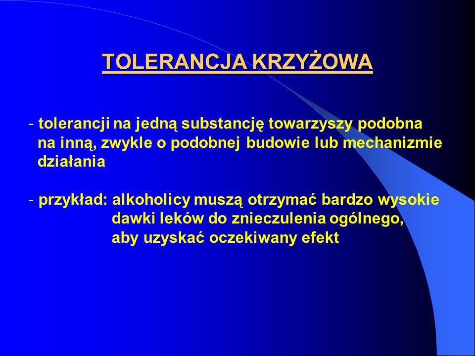 TOLERANCJA KRZYŻOWA - tolerancji na jedną substancję towarzyszy podobna na inną, zwykle o podobnej budowie lub mechanizmie działania - przykład: alkoh