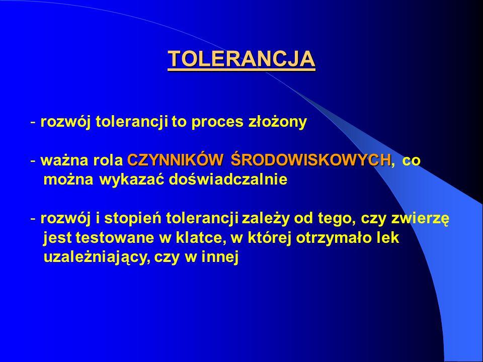 TOLERANCJA - rozwój tolerancji to proces złożony CZYNNIKÓW ŚRODOWISKOWYCH - ważna rola CZYNNIKÓW ŚRODOWISKOWYCH, co można wykazać doświadczalnie - roz