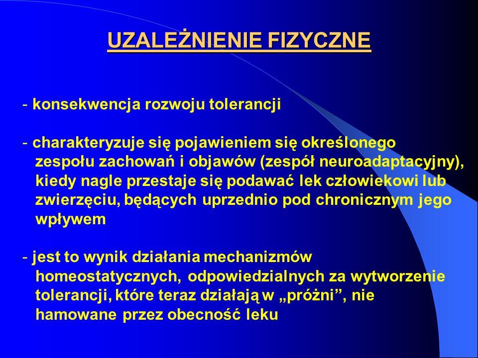- konsekwencja rozwoju tolerancji - charakteryzuje się pojawieniem się określonego zespołu zachowań i objawów (zespół neuroadaptacyjny), kiedy nagle p